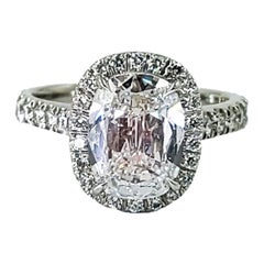 2.26 Carat Cushion Cut Diamond Engagement Ring in Halo