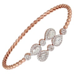 2.26 Carat Diamond 18 Karat Rose Gold Wrap Bangle Bracelet