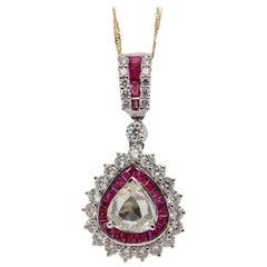2.26 Carat Diamond and Ruby Pendant in 18 Karat Gold