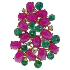 2.26 Carat Emerald 10.51 Carat Ruby Diamond Colorful Ring