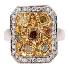 2.26 Carat Fancy Color Diamond 18 Karat White Gold Cocktail Ring