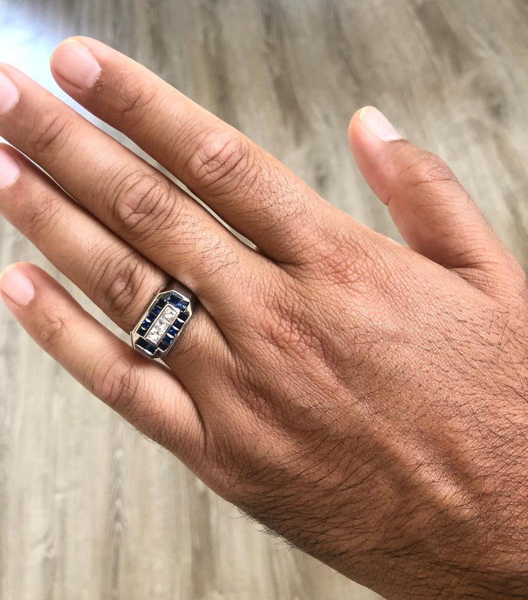 2.26 Carat Men's Sapphire Diamond 14 Karat White Gold Ring In New Condition For Sale In Los Angeles, CA