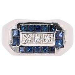 2.26 Carat Men's Sapphire Diamond 14 Karat White Gold Ring