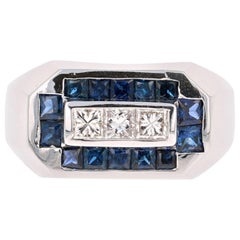 2.26 Carat Men's Sapphire Diamond 14 Karat White Gold Ring