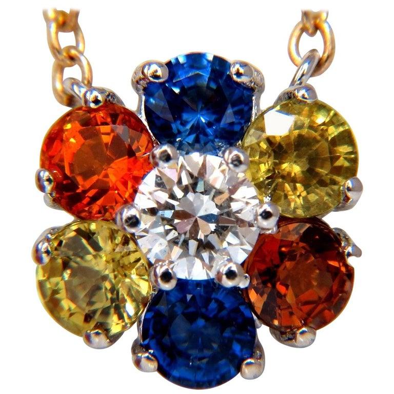 2.26 Carat Natural Multi-Color Sapphires Diamond Cluster Necklace 14 Karat For Sale