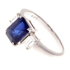 2.26 Carat Natural Sapphire Diamond Platinum Engagement Ring