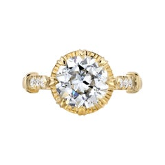 2.26 Carat Old European Cut Diamond Set in a Yellow Gold Engagement Ring
