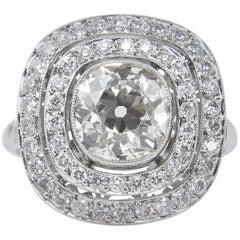 2.26 Carat Old Mine Diamond Cluster Engagement Wedding Platinum Ring EGL, USA