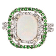 2.26 Carat Opal Diamond Tsavorite 14 Karat White Gold Cocktail Ring