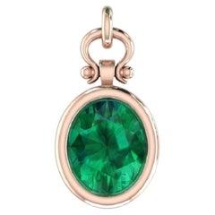 2.26 Carat Oval Cut Emerald Pendant Necklace in 18k