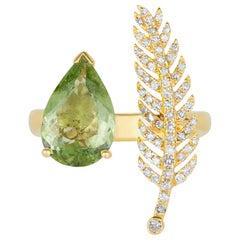 2.26 Carat Paraiba Pear Tourmaline Ring White Diamond Feather 14 Karat Gold