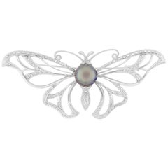 Round Tahitian Pearl Round Diamond Butterfly Pendant Brooch Pin 18K White Gold