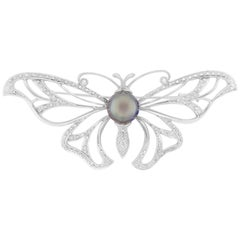 2.26 Carat Pearl and Diamond Butterfly Pendant and Brooch/Pin