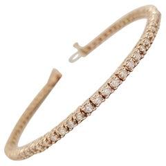 2.26 Carat Round Brilliant Cut Diamond Tennis Bracelet 14 Karat Rose Gold