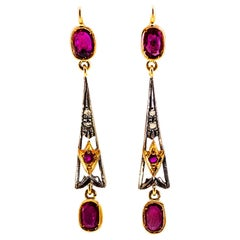 2.26 Carat White Rose Cut Diamond Ruby Yellow Gold Lever-Back Drop Earrings