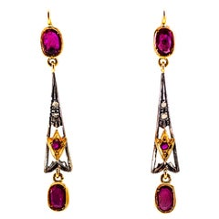 2.26 Carat White Rose Cut Diamond Ruby Yellow Gold Lever-Back Drop Earrings