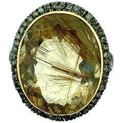22.60 Carat Rutilated Quartz 0.70 Carat Diamonds Silver 14 Karat Gold Ring