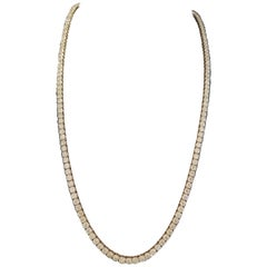 22.62 Carat Round Diamond Rose Gold Tennis Necklace 14 Karat