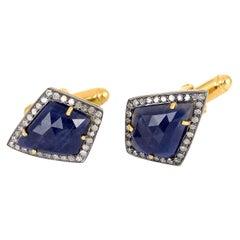 22.64 Carat Blue Sapphire Diamond Cufflinks