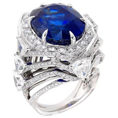 22.64 Ct GRS Royal Blue Ceylon Sapphire and 5ct Diamond Cocktail Ring 18k Gold