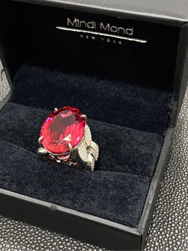 Oval Cut 22.69 Carat Rubellite & Diamond Cuban Link 18k Gold Ring For Sale