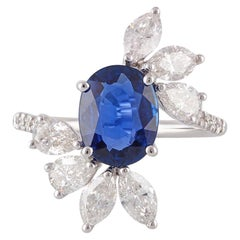 2.27 Carat Blue Sapphire and Diamond Ring Studded in 18 Karat White Gold