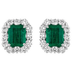 2.27 Carat Columbian Emerald Diamonds Earrings