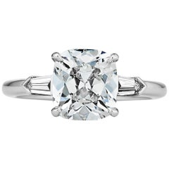 2.27 Carat Cushion Brilliant Cut Diamond Platinum Handmade Engagement Ring