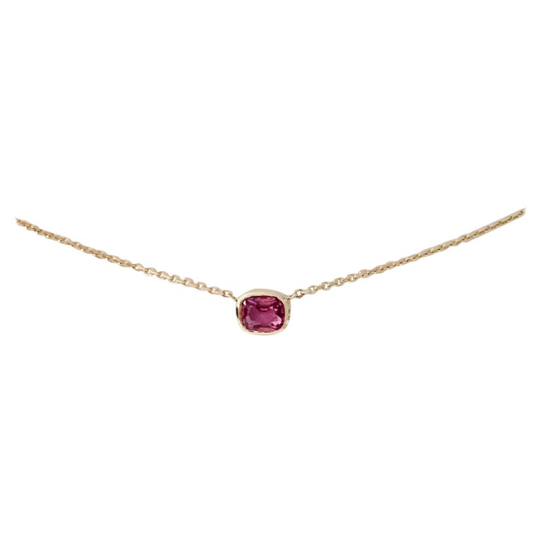 2.27 Carat Cushion Cut Pink Sapphire Necklace in 18 Carat Rose Gold For Sale