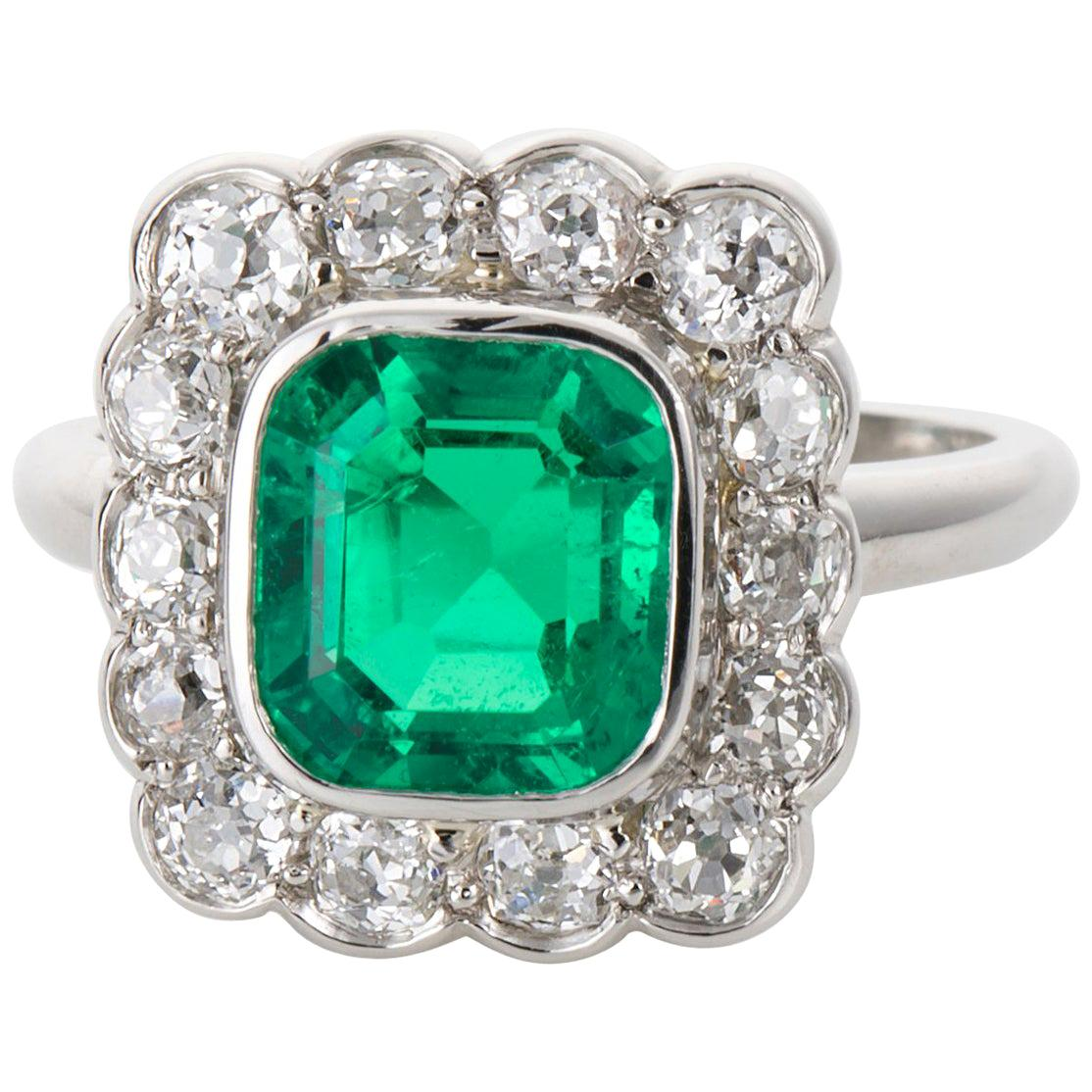 2.27 Carat GIA Certified Colombian Emerald and Diamond Platinum Ring