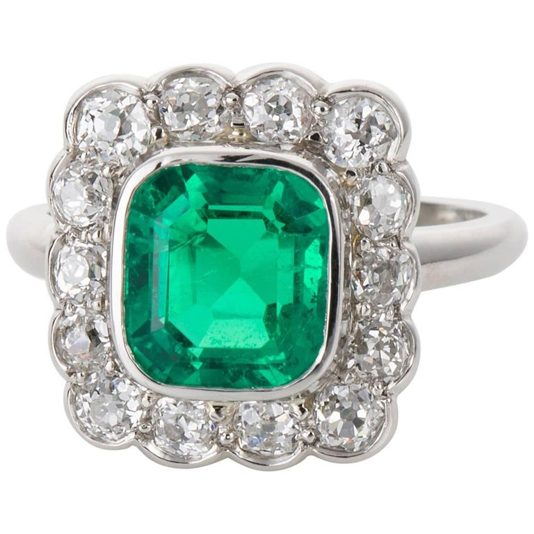 d5a97470b78d5e 2.27 carat GIA Certified Colombian Emerald and Diamond Platinum Ring For  Sale