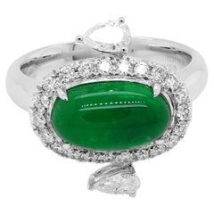 2.27 Carat 'Jade like' Colombian Emerald White Diamond Cocktail 18K Ring