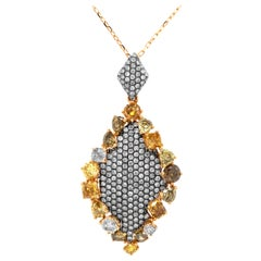 2.27 Carat Natural Fancy Color Diamonds and Pink Diamond Designer Pendant
