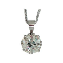 2.27 Carat Old European Cut Diamond Pendant, Platinum Setting