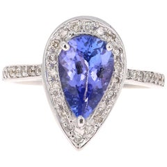 2.27 Carat Pear Cut Tanzanite Diamond Cocktail Ring 18 Karat White Gold
