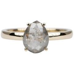 2.27 Carat Pear Shape Diamond Solitaire Ring 14 Karat Yellow Gold AD2021-4