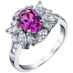 2.27 Carat Pink Sapphire and Diamond 18 Karat White Gold Cocktail Ring