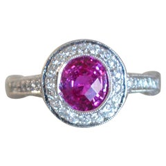 2.27 Carat Pink Sapphire and Diamond and Platinum Engagement Ring