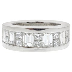 2.27 Carat Princess Cut and Baguette White Diamond Ring in Platinum