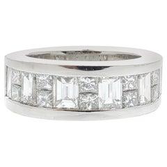 2.27 Carat Princess Cut and Baguette White Diamond Ring in Platinum