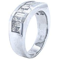 2.27 Carat Princess Cut/Baguette Diamond 18 Karat Gents Ring