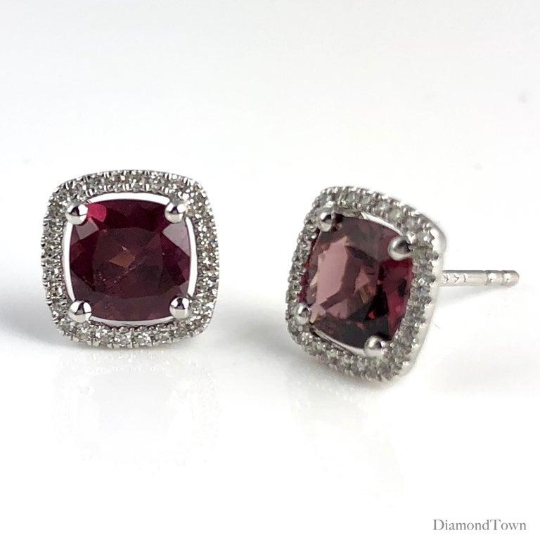 Contemporary 2.27 Carat Raspberry Garnet and Diamond Halo Stud Earrings in 14 Karat Gold For Sale