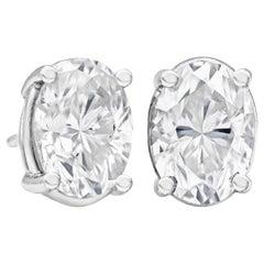 2.27 Carat Total Oval Cut Diamond Stud Earrings