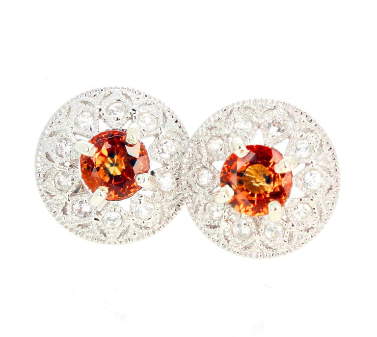 Women's or Men's 2.27 Carat Unique Orangy Red Songea Sapphire and Diamond Earrings For Sale