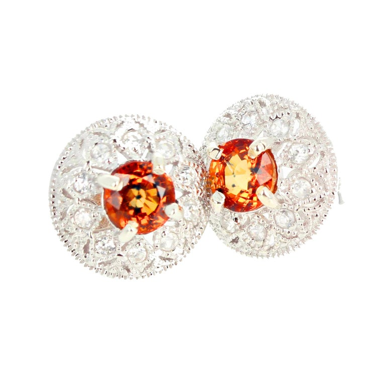 2.27 Carat Unique Orangy Red Songea Sapphire and Diamond Earrings For Sale 1