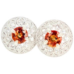 2.27 Carat Unique Orangy Red Songea Sapphire and Diamond Earrings