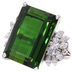 22.72 Carat Gem Tourmaline Diamond Platinum Ring
