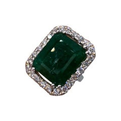 22.76 Ctw Natural Emerald and Diamond Ring in 18k White Gold