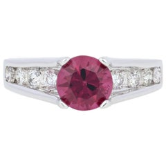 2.27 Carat Round Cut Rhodolite Garnet and Diamond Ring, 14 Karat White Gold