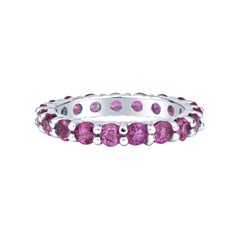 2.27ctw Round Pink Sapphire, 18kt White Gold Eternity Stacking Band